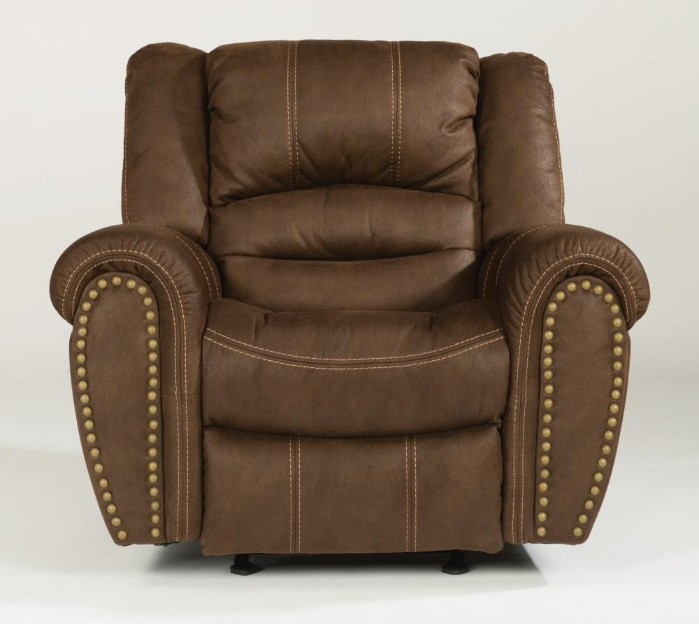 New Town Fabric Gliding Recliner 141054 Naturally