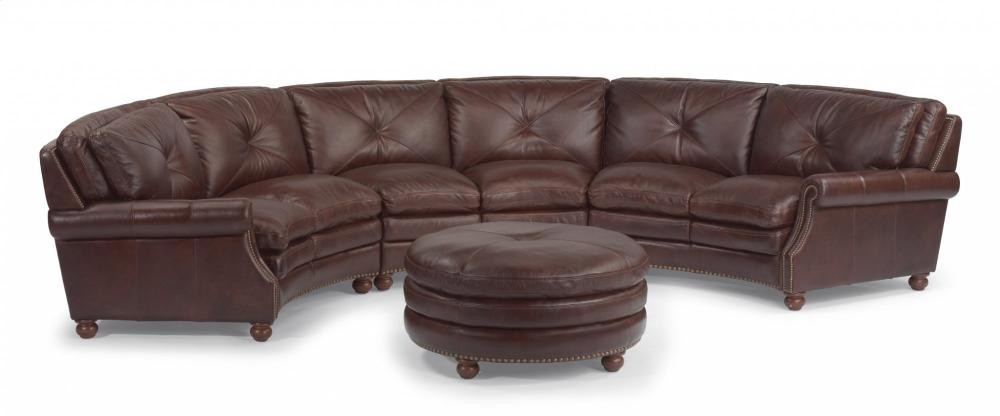 Suffolk Leather Round Cocktail Ottoman