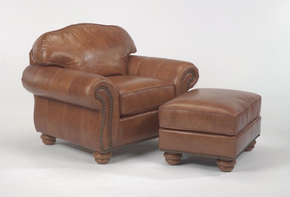 Bexley Leather Ottoman without Nailhead Trim