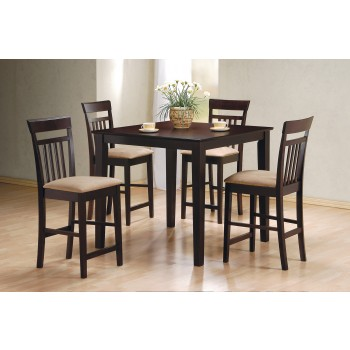 Cappuccino Counter Height Table/chair 5pc Set - 150041