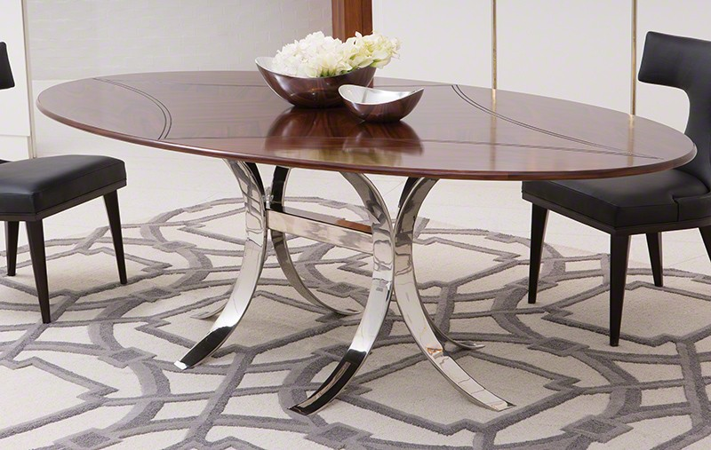 Santos Oval Dining Table W/Stainless Steel Base