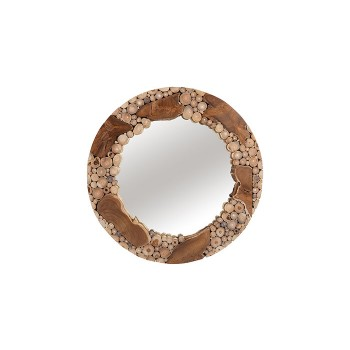 Teak Patch Stick Mirror Round, LG