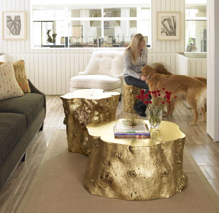 Log Side Table Gold Leaf | Tables | At Hom