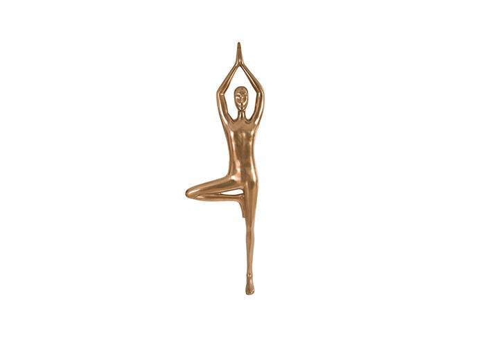 Yoga Figure Male Wall Art, Polished Bronze, No Lines