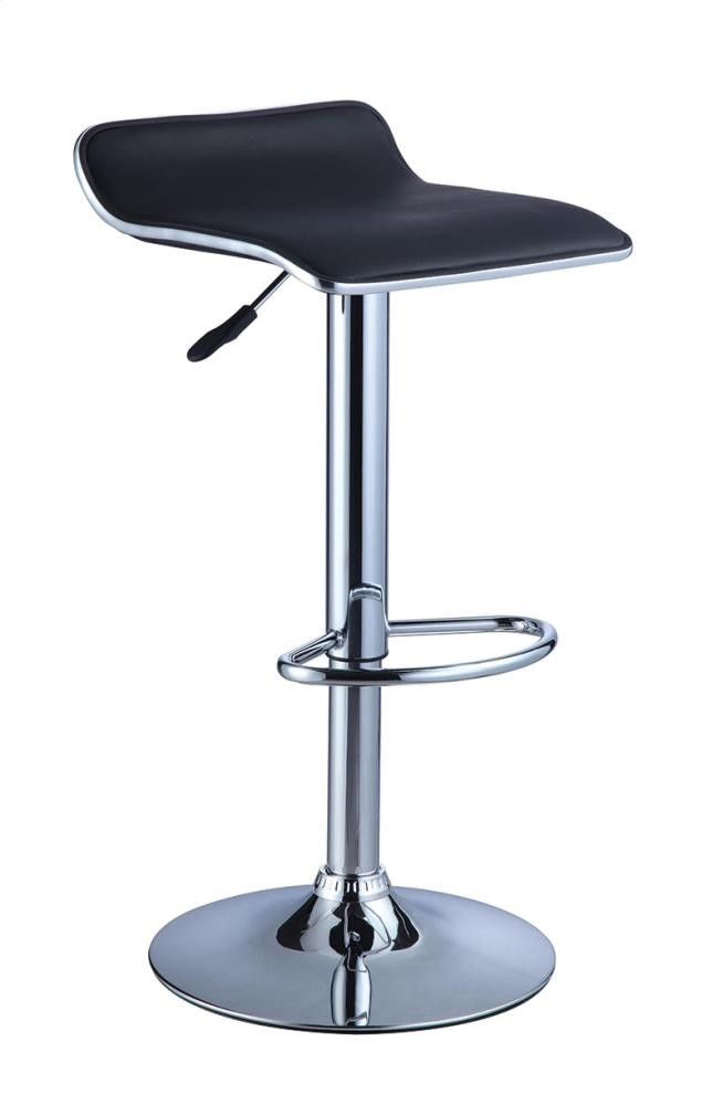 Magnificent Powell Company Black Faux Leather Chrome Thin Seat Short Links Chair Design For Home Short Linksinfo
