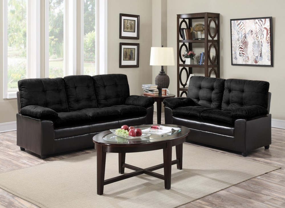 amazon com furniture living room black microfiber sofa and seat price busters 15979