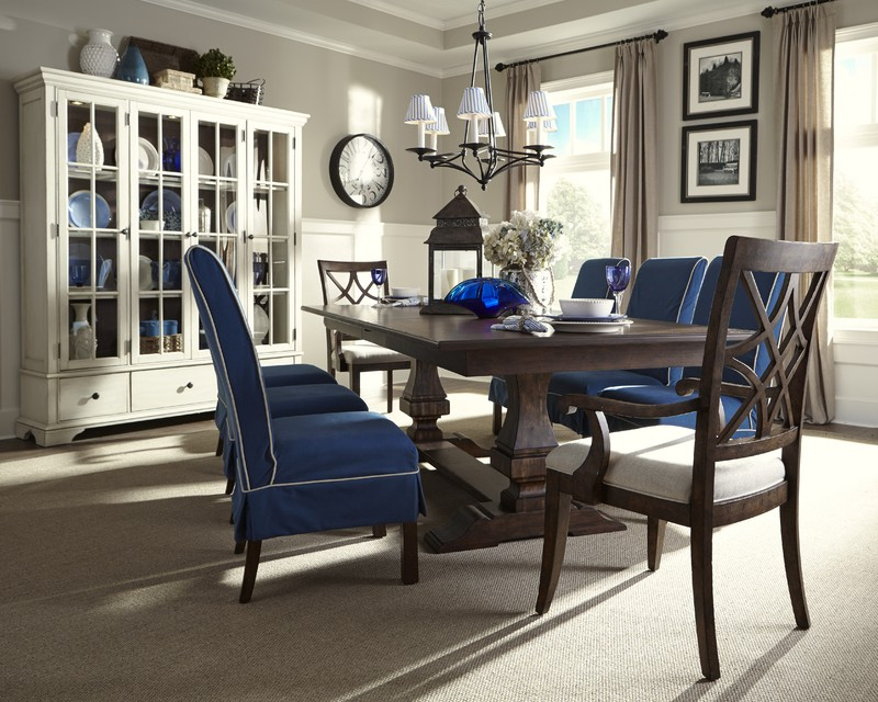 Trisha Yearwood Trestle Table Chairs China Cabinet