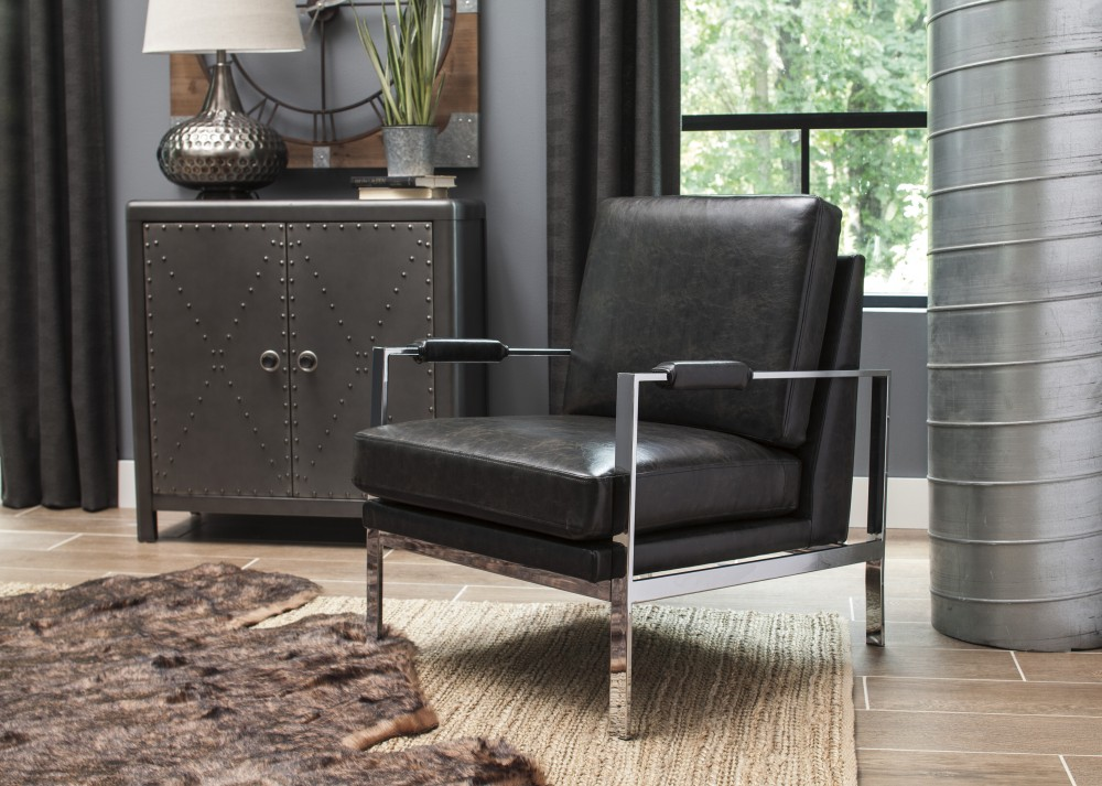 Luxury Black Accent Chair Painting