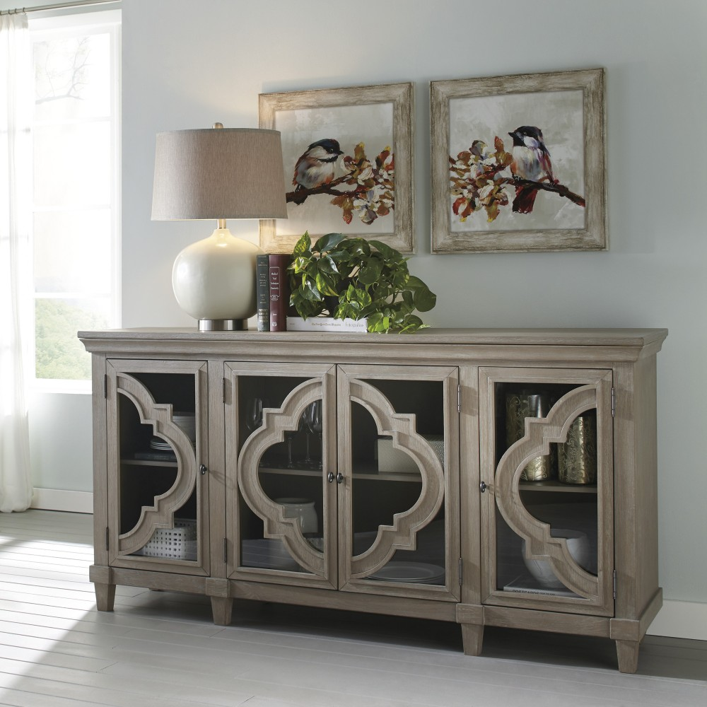 Signature Design By Ashley Fossil Ridge A4000039 Solid: Fossil Ridge - Gray - Door Accent Cabinet