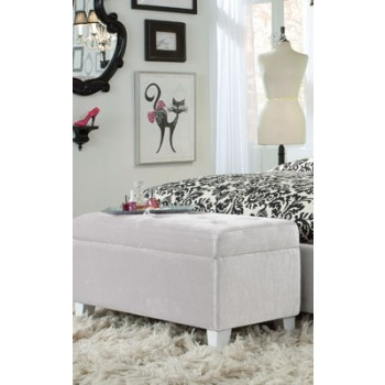 White Velvet Ottoman 65194 Ottomans Furniture World
