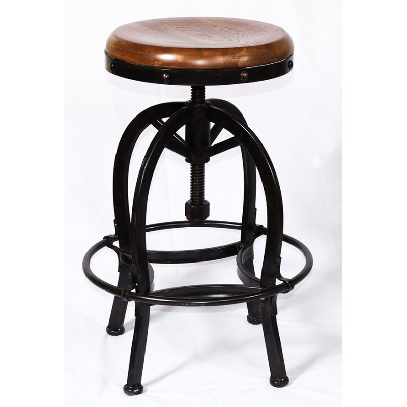SUNNY DESIGNS Adjustable Barstool W/ Wooden Seat