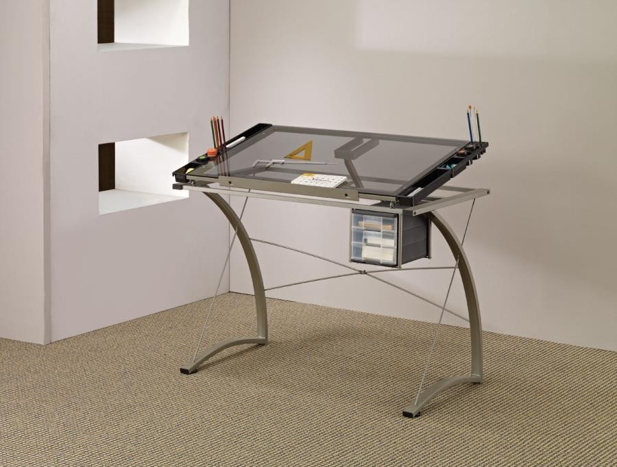HOME OFFICE : DESKS - Contemporary Glass Top Drafting Desk