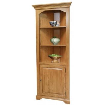 TENNESSEE ENTERPRISES Corner Bookcase w/Door, Fixed Shelves, Oak/Ply