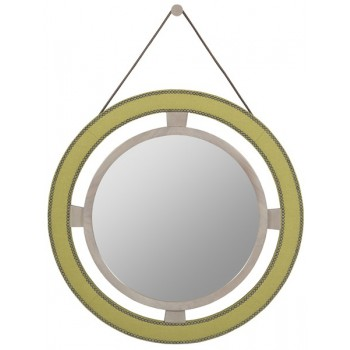 9400-MI Robineau Road Upholstered Round Mirror