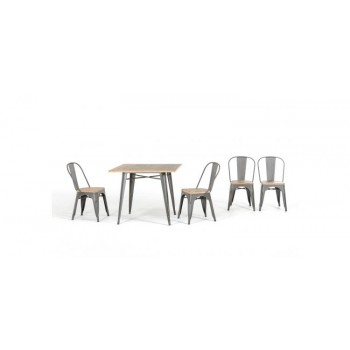 Modrest T-14005 Modern Grey Metal and Wood Square Dining Table Set