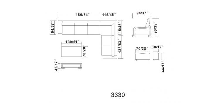 Divani Casa 3330 - Modern Leather Sectional Sofa Set
