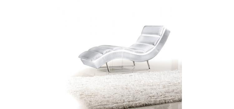 Divani Casa Trance - Modern White Leatherette Chaise