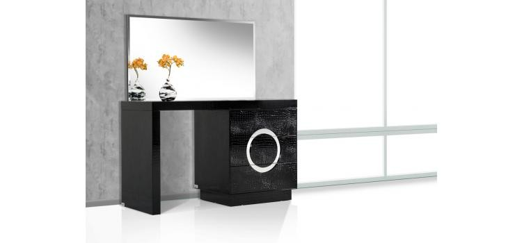A&X Ovidius Modern Black Crocodile Vanity Table & Mirror