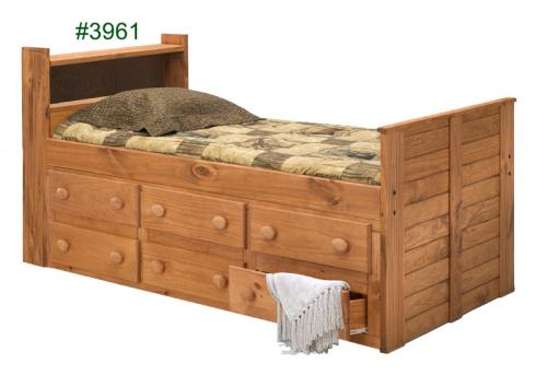 Twin Bookcase Captain Bed with Six-Drawer Under Bed Unit