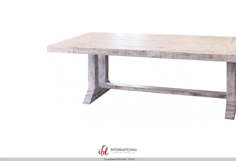 Minimalist Wooden Table top & base White finish  - Minimalist Wood Table Finish