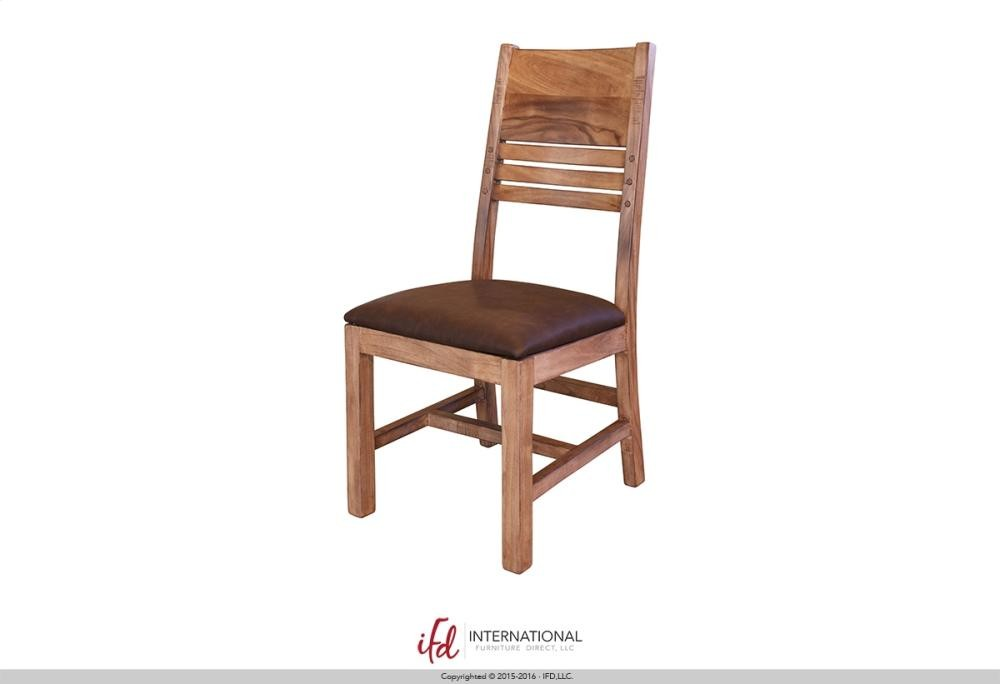 Chair with Solid wood back Faux Leather seat
