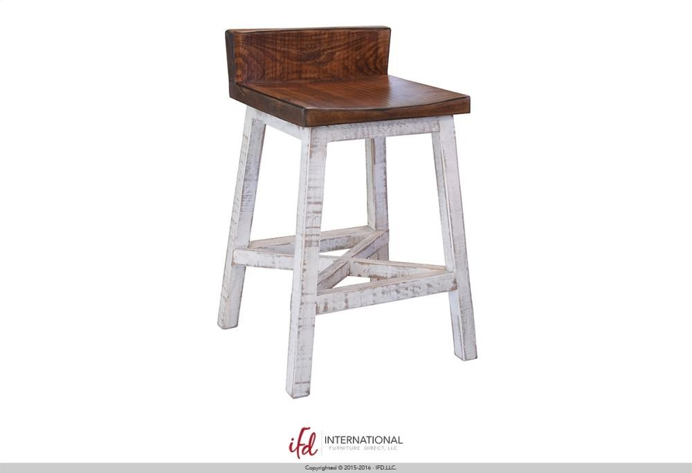 Outstanding 24 Stool With Wooden Seat Base White Finish Caraccident5 Cool Chair Designs And Ideas Caraccident5Info