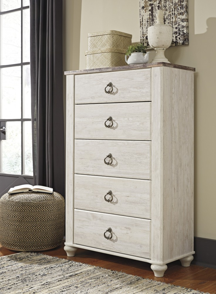 Willowton - Whitewash - Five Drawer Chest