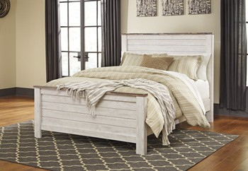 Willowton - Whitewash - Queen Panel Footboard