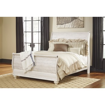 Willowton - Whitewash - Queen Sleigh Footboard