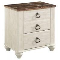 Willowton - Whitewash - Two Drawer Night Stand
