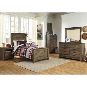 Trinell 5 Pc. Bedroom - Dresser, Mirror & Twin Panel Bed