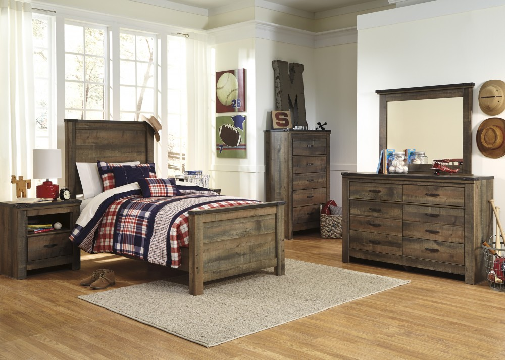 Trinell 5 Pc. Bedroom   Dresser, Mirror U0026 Twin Panel Bed
