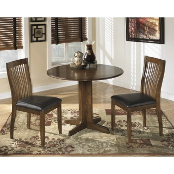 Stuman Round Drop Leaf Table & 2 UPH Side Chairs
