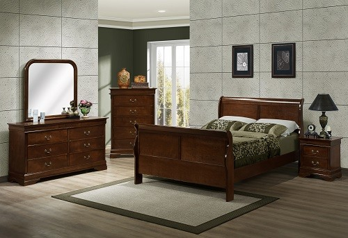 329 Renaissance Brown/Cherry Sleigh Bedroom Collection
