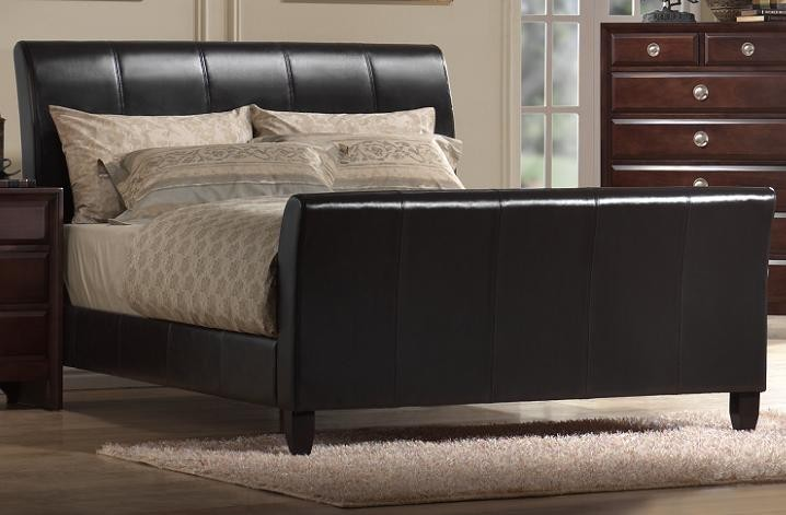 9095 Leather Sleigh Bed