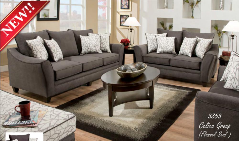 3853 Sofa, Loveseat U0026 Chair U0026 1/2 Flannel Seal Celica Collection