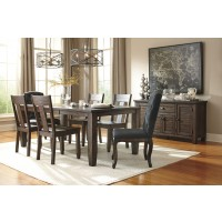 Trudell - Golden Brown - RECT Dining Room EXT Table, 4 Side Chairs & 2 UPH Side Chairs