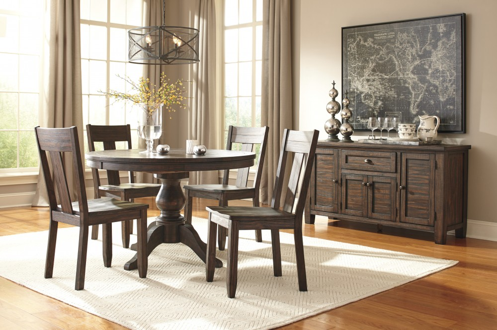 Trudell - Golden Brown - Round Dining Table & 4 Side Chairs | D658 ...