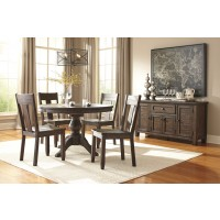 Trudell - Golden Brown - Round Dining Table & 4 Side Chairs