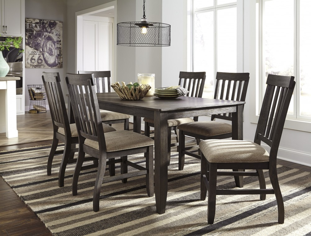 Dresbar - Grayish Brown - Rectangular Dining Room Table & 6 UPH Side ...
