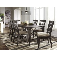 Dresbar - Grayish Brown - Rectangular Dining Room Table & 6 UPH Side Chairs
