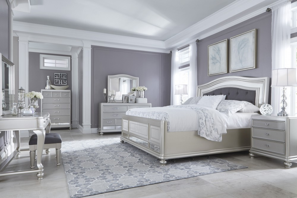 Coralayne 5 Pc. Bedroom - Dresser, Mirror & Queen UPH Panel Bed ...