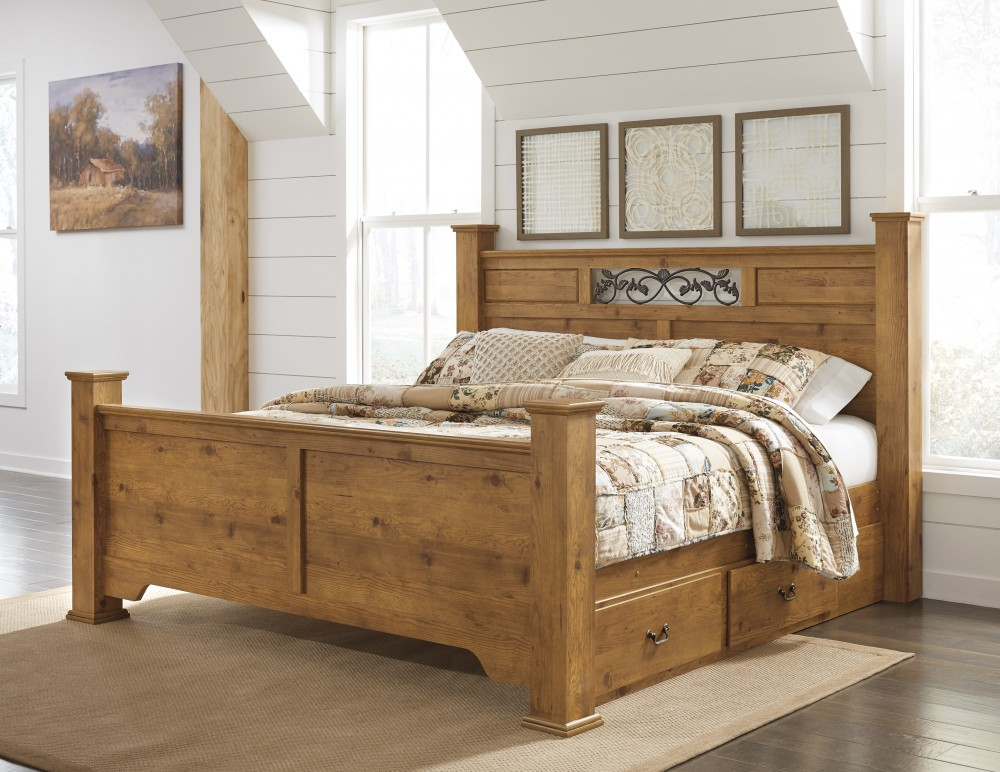 Bittersweet King Poster Bed With Storage B219 50 71 84 87 99 Complete Beds The Furniture