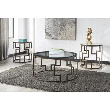 Frostine - Dark Bronze Finish - Occasional Table Set (3/CN)