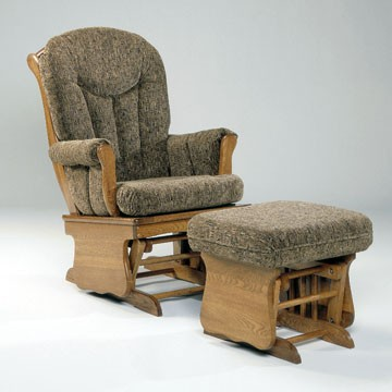 HOLLAND HOUSE FURNITURE Contemporary solid oak glider with padded arms