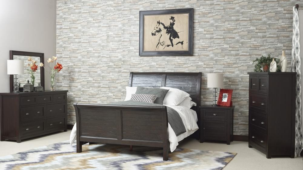 Prospect creek queen sleigh footboard complete beds for Pruitts bedroom sets