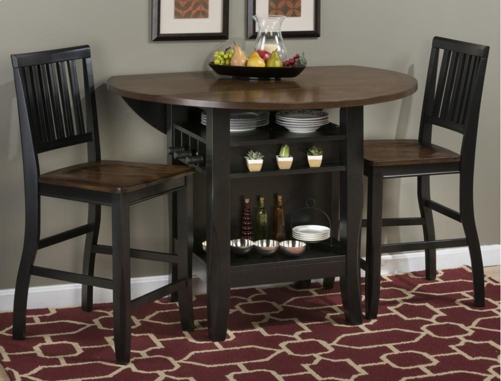 ... Round Dropleaf Counter Height Table. Braden Antique Black 48