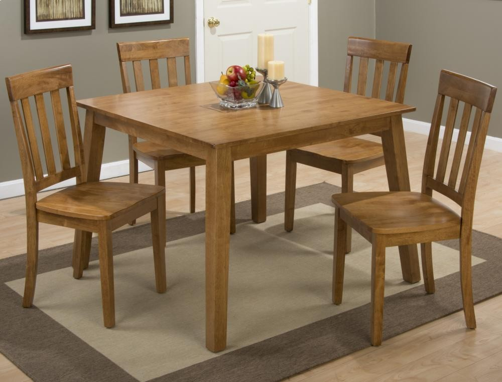 Rich Caramel Finish Classic Bedroom Set W Options: Simplicity Honey Square Dining Table