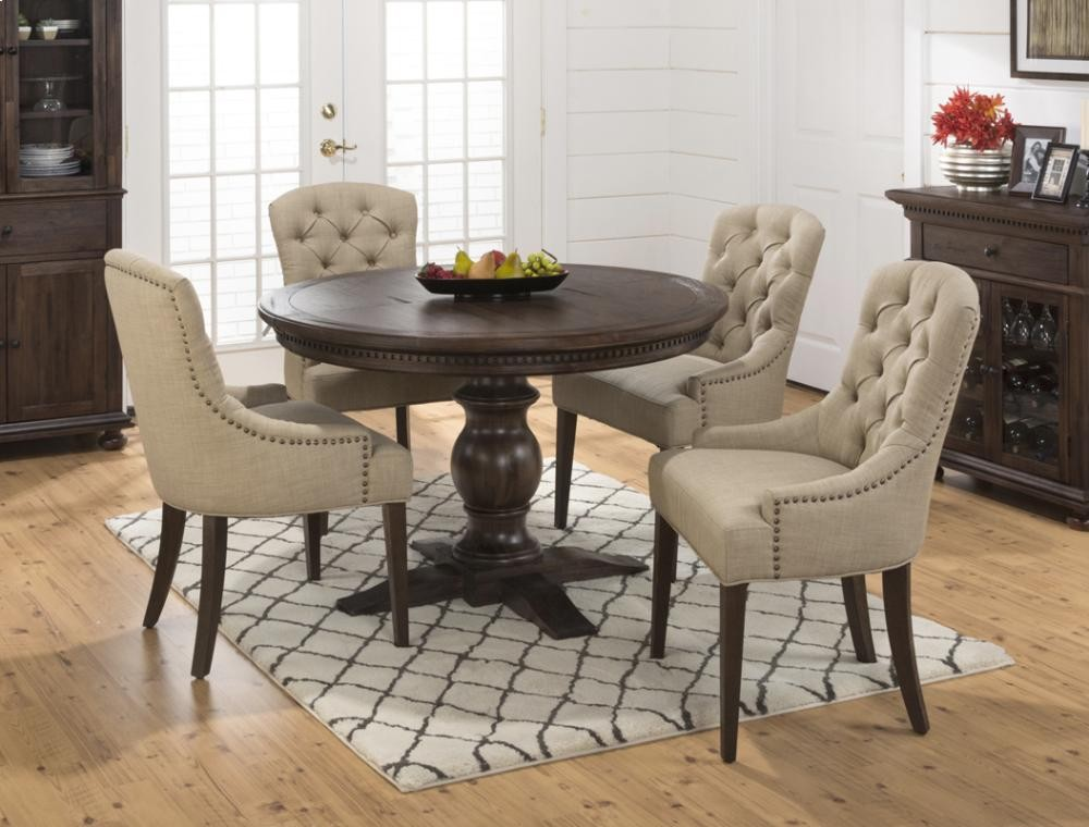 Geneva Hills Round To Oval Pedestal Dining Table  Top Only