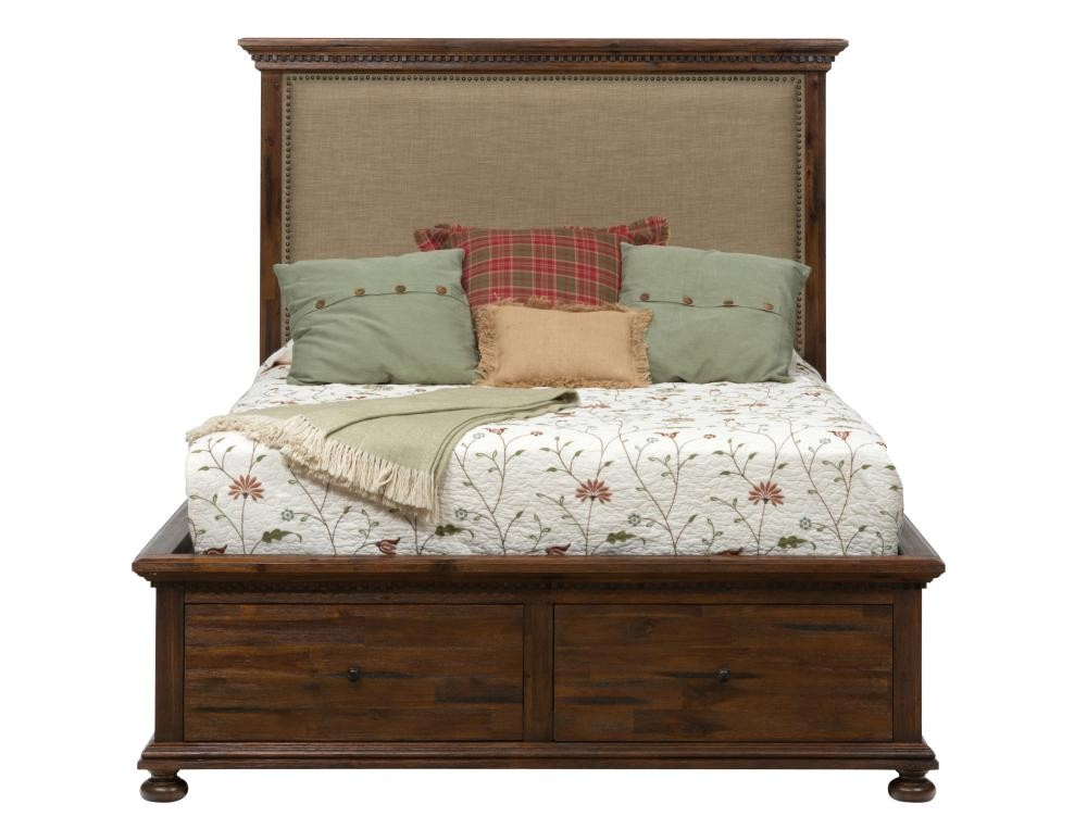 Geneva hills queen footboard with two drawers complete for Pruitts bedroom sets